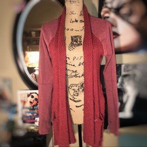 Lucky Brand merlot Contrast Knit Open Cardigan